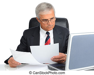 Businessman at desk with computer and papers - Mature...