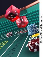 Craps table - Casino craps table, dice in motion.