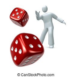 Throw the dice - Person throwing a pair of a red dice...