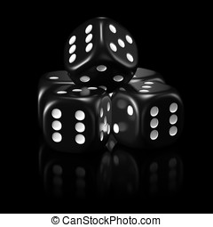 Black dice set - Five black dice, black background, mirror...
