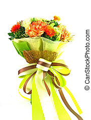 colorful flowers bouquet on white background