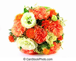 colorful spring flowers bouquet on white background