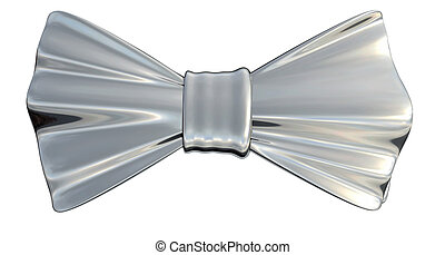 Bowtie Silver, isolated - Bowtie Silver metallic in 3D,...