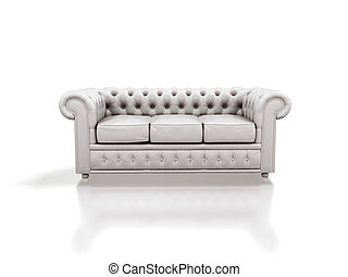 White leather sofa isolated on white