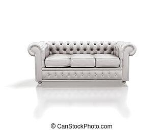 White leather sofa isolated on white background.