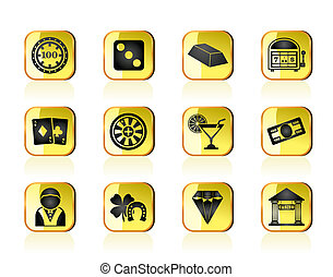 casino and gambling icons - vector icon set