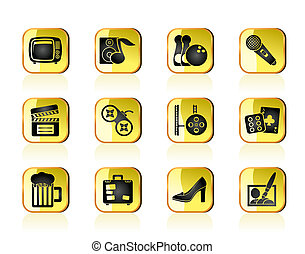 Leisure activity and objects icons