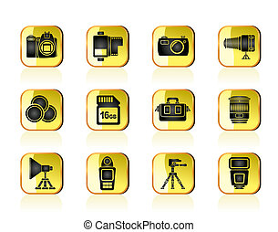 Photography equipment icons - Photography equipment and...