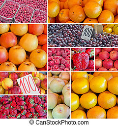 fruits collage 1 - Digital collage of fruits on farmers...