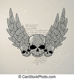 Vector with wings - Vector illustration of a vintage skull...