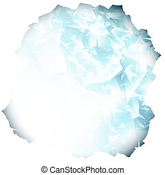 paper hole with glass or blue ice background