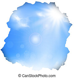 paper hole with blue sky and sun , copyspace