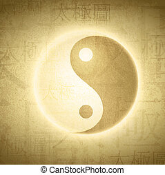 Yin Yang symbol with writing on Chinese Taijitu English...