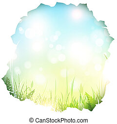 paper hole with spring background and green grass, copyspace