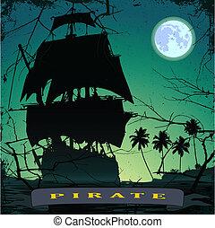pirate ship- 3 - grunge mist pirate ship in ocean