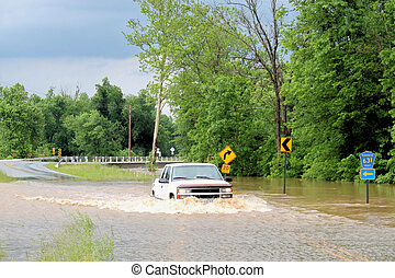 Driving Through A Flood - The Illinois River in Arkansas...
