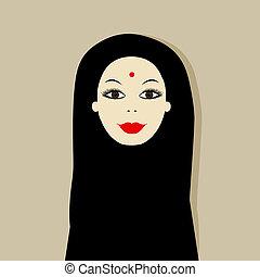 Arabic woman portrait for your design
