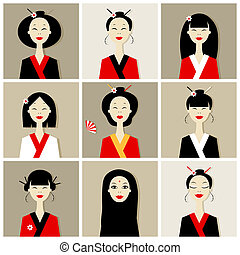 Asian women portraits, collection for your design
