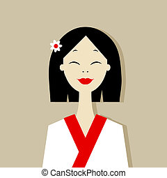 Asian woman portrait for your design