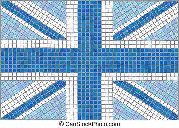 Union Jack blue - Blue Union Jack Vintage mosaic style EPS10...