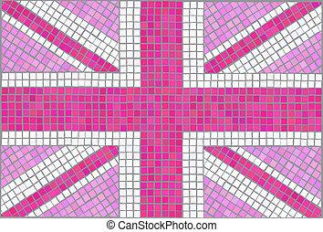 Union Jack pink - Pink Union Jack Vintage mosaic style EPS10...