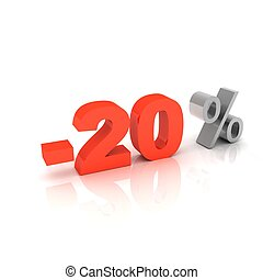 Percentage, -20 - 3d word 20 percent off on white isolated...