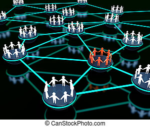 Social network - 3d render of social network with group of...
