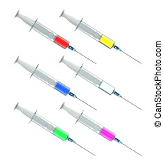 Syringes - Disposal transparent syringes filled with...