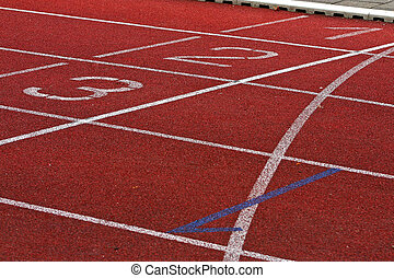 Finish Lane in Athletic Stadion - Numbers of the Finish Line...