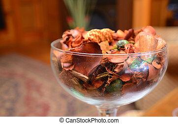 potpourri in a glass bowl