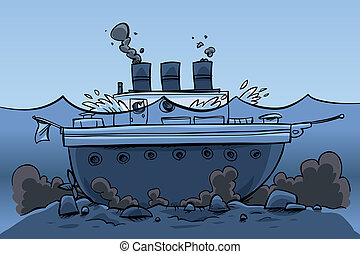 Sunk Ship - A cartoon ship, sitting at the bottom of the...