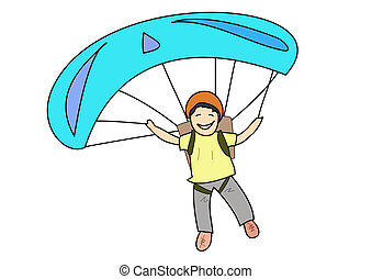Parachuting - A kid happy and smile during parachuting