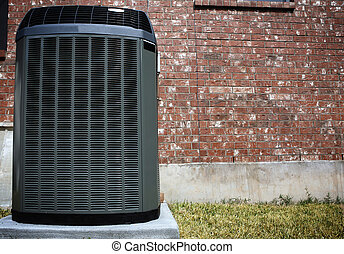 Air Conditioner and brick wall - High efficiency modern...