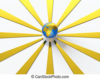 Earth with golden rays - 3D render of Earth spreading out...