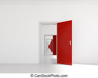 Hallway with many doors - 3d render of hallway with many red...