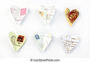 Flying love letters cut out of old letters