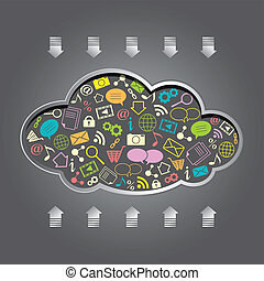 vector cloud computing - cloud computing with apps over gray...