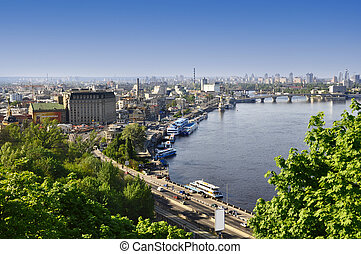 Kiev the capital of Ukraine, city landscape on river,...