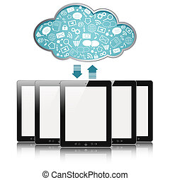cloud computing - a tablet computers with blue clouds, cloud...