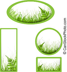 banners with grass and fern over white