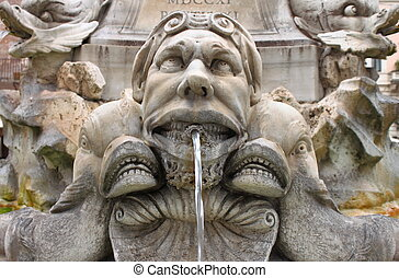 Marble fountain in Pantheon, Rome - Marble fountain in...