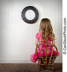 A child in time out or in trouble - A young child in time...