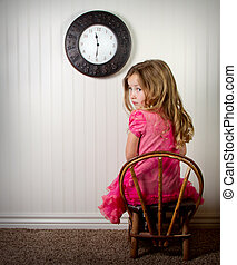 little girl in time out or in trouble looking, with clock on...