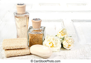 exfoliation spa still life - Exfoliation spa still life on a...