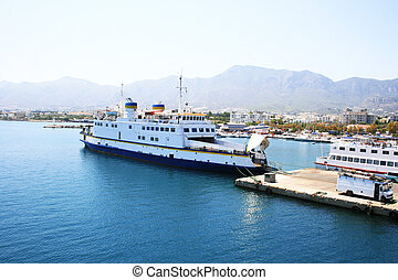 Ferry boat in Kyrenia port, turkish side of Cyprus.
