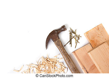 hammer and nails on a white background - Hammer, nails and...