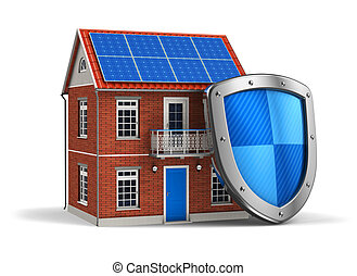 Home security concept: residential house covered by...
