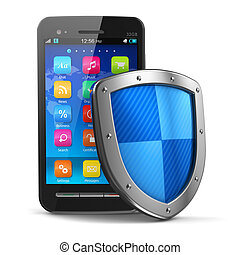 Mobile security and antivirus protection concept: black...