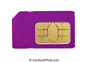 Sim card for mobile phone isolated on white background