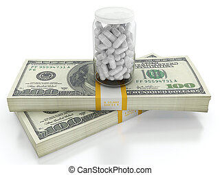 Expensive health care - White pills on top of dollar bills...